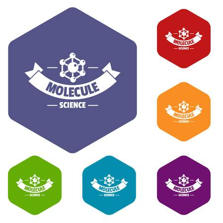 Molecule icons vector hexahedron
