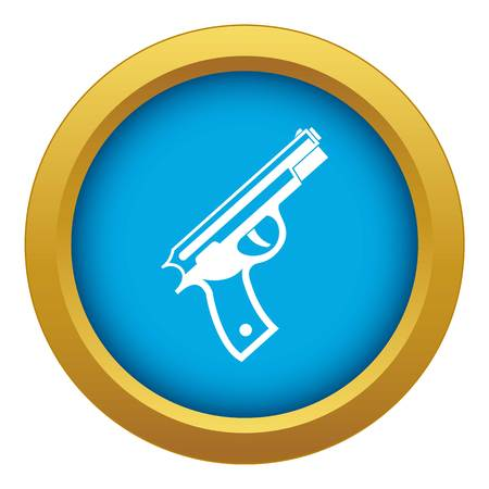 Gun icon blue vector isolated