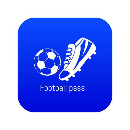 Football pass icon blue vector isolated on white background