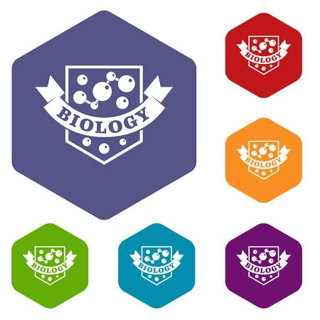 Evolution biology icons vector hexahedron