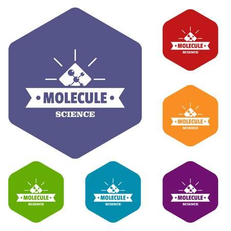 Molecule science icons vector hexahedron Illustration