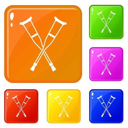Crutches icons set vector color Banque d'images - 122485372