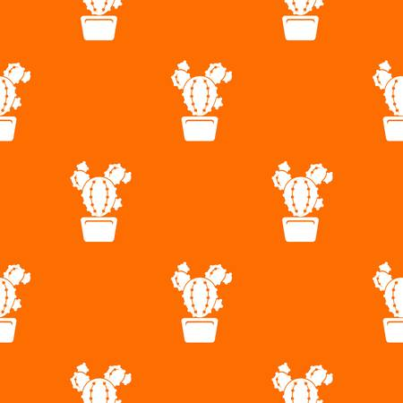 Circle cactus pattern vector orange