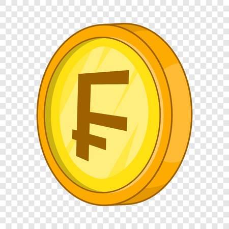 Swiss frank icon, cartoon style