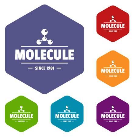 Molecule energy icons vector hexahedron Illustration