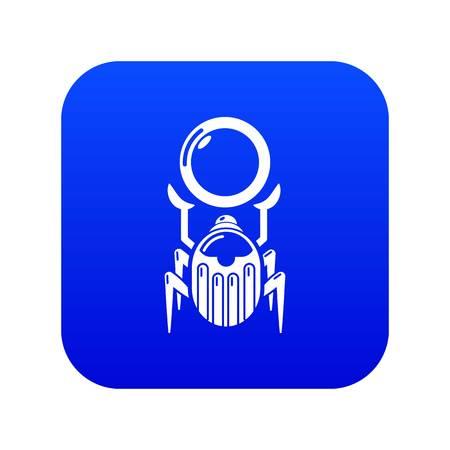 Scarab icon blue vector