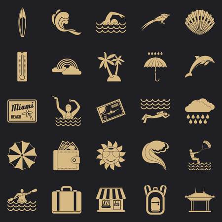 Surfing icons set. Simple set of 25 surfing vector icons for web for any design Çizim