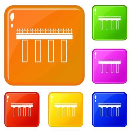 Bridge icons set vector color Illustration