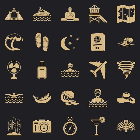Rest on the ocean icons set. Simple set of 25 rest on the ocean vector icons for web for any design Çizim