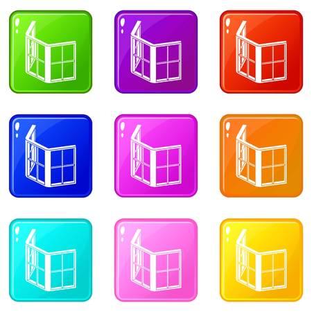 Facade window frame icons set 9 color collection