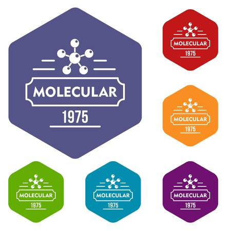 Molecular icons vector colorful hexahedron set collection isolated on white