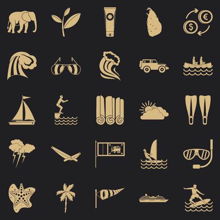 Kitesurfing icons set. Simple set of 25 kitesurfing vector icons for web for any design