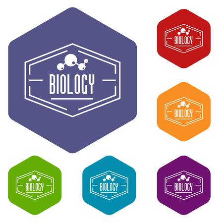 Biology icons vector hexahedron Illustration