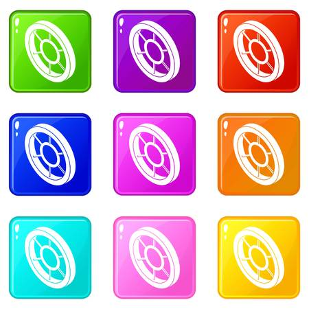 Round window frame icons set 9 color collection