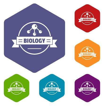 Medicine biology icons vector hexahedron