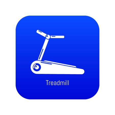 Treadmill icon blue vector isolated on white background