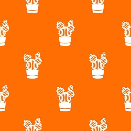 Round cactus pattern vector orange