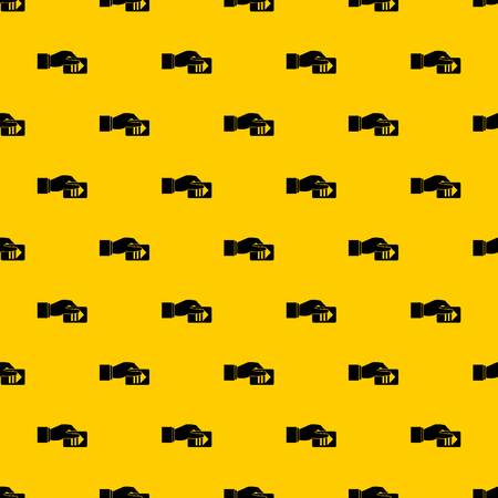 Hand with parking ticket pattern seamless vector repeat geometric yellow for any design