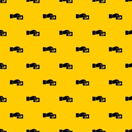 Mano con biglietto di parcheggio modello vettore senza soluzione di continuità ripetizione geometrica giallo per qualsiasi design