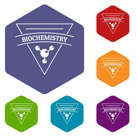 Biochemistry icons vector colorful hexahedron set collection isolated on white