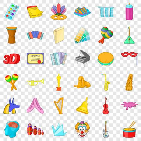 Learning drawing icons set. Cartoon style of 36 learning drawing vector icons for web for any design