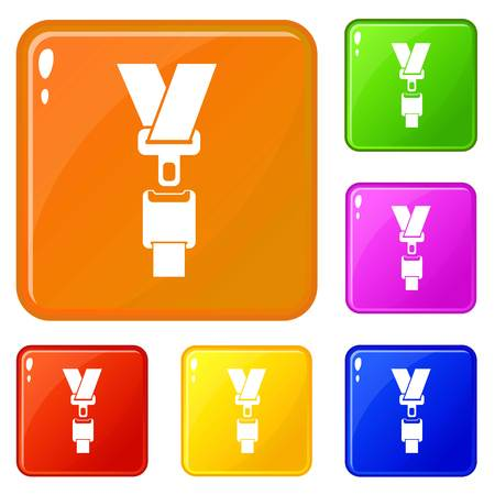 Safety belt icons set collection vector 6 color isolated on white background
