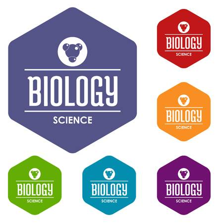 Structure biology icons vector hexahedron