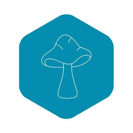 Big mushroom icon, outline style