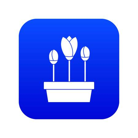 Tulips in box icon digital blue for any design isolated on white vector illustration 向量圖像