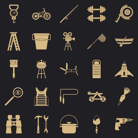 Rig icons set, simple style
