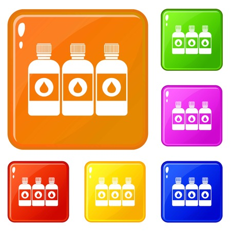 Printer ink bottles icons set collection vector 6 color isolated on white background