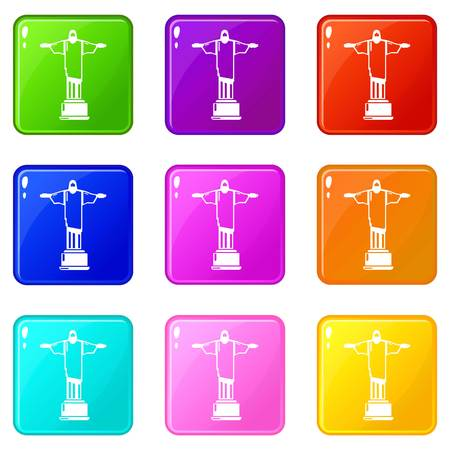 Cristo redentor icons set 9 color collection Illustration