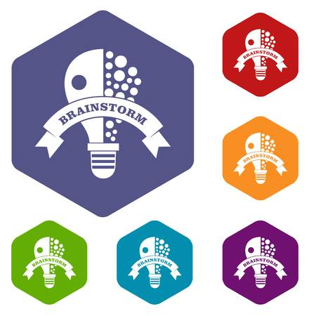 Lamp brain storm icons vector hexahedron