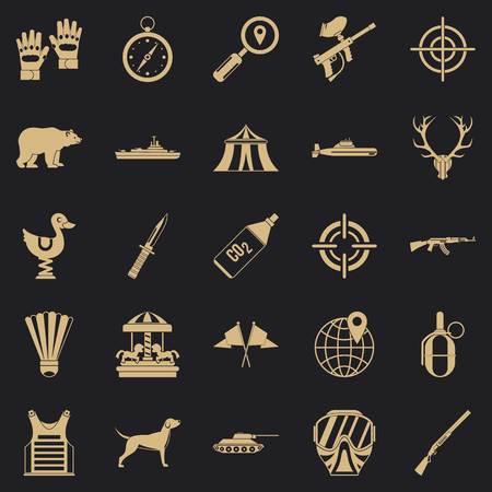 Purpose icons set, simple style