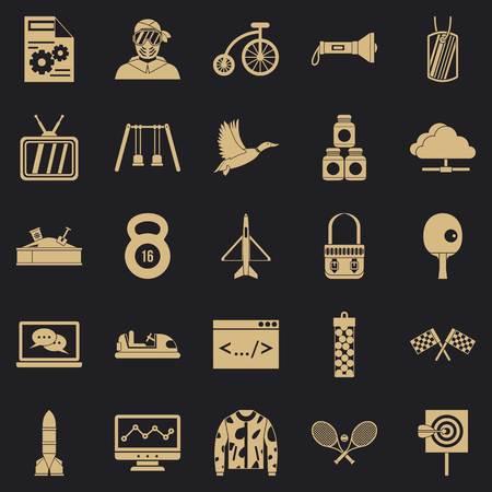 Aim icons set, simple style Illustration