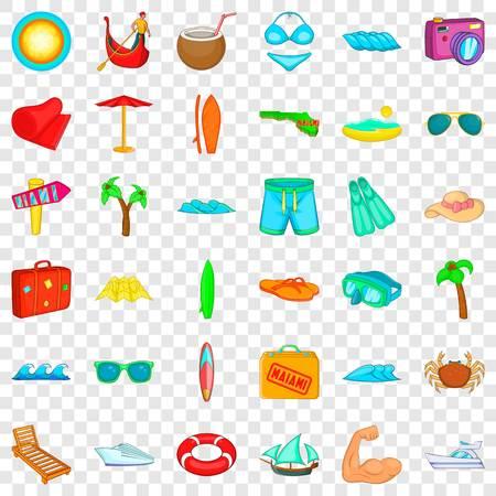Summer beach icons set, cartoon style