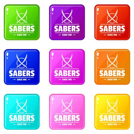 Saber icons set 9 color collection