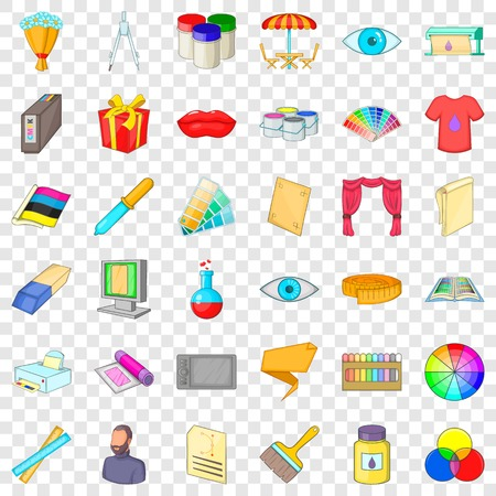 Color icons set, cartoon style