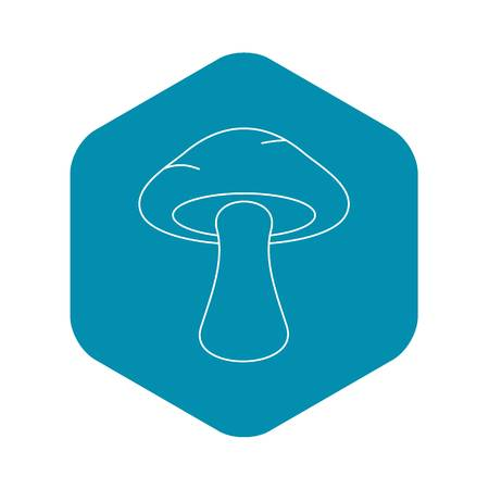 Tubular mushroom icon, outline style