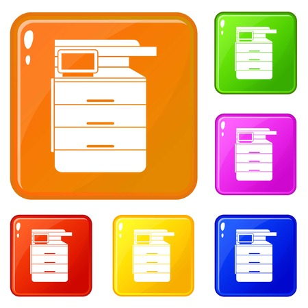 Multipurpose device, fax, copier and scanner icons set collection vector 6 color isolated on white background