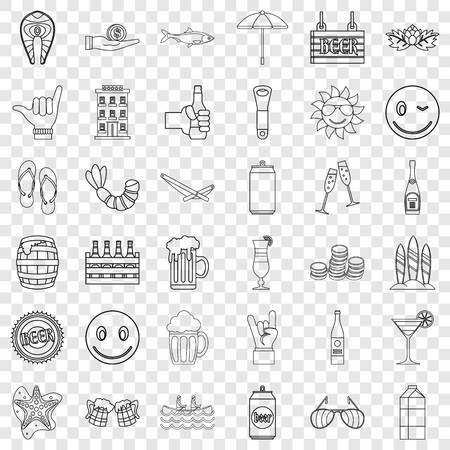 Restaurant icons set, outline style Illusztráció