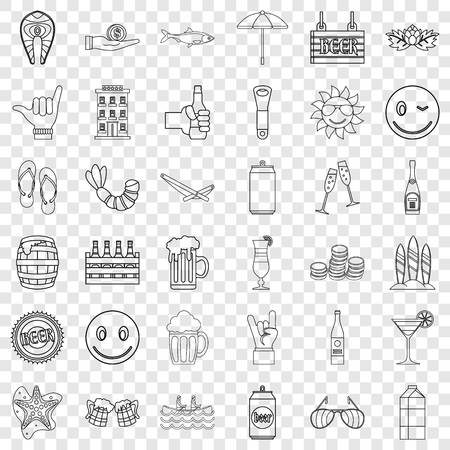 Restaurant icons set, outline style Ilustrace