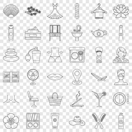 Hygiene icons set, outline style 矢量图像