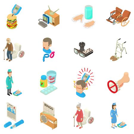 Diabetic icons set, isometric style
