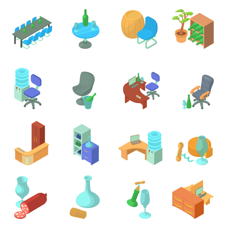 Wine office icons set. Isometric set of 16 wine office vector icons for web isolated on white background  イラスト・ベクター素材