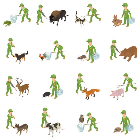 Catch animal icons set. Isometric set of 16 catch animal vector icons for web isolated on white background Vector Illustration