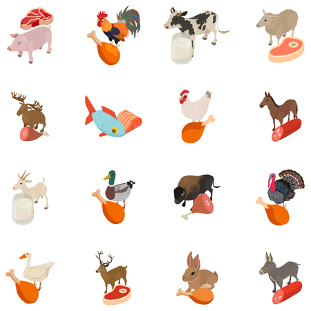 Animal factory icons set, isometric style