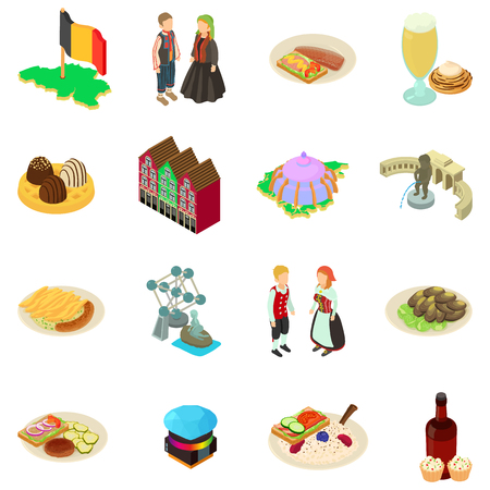Germany icons set. Isometric set of germany vector icons for web isolated on white background