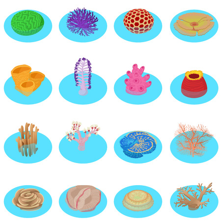 Water life icons set. Isometric set of 16 water life vector icons for web isolated on white background