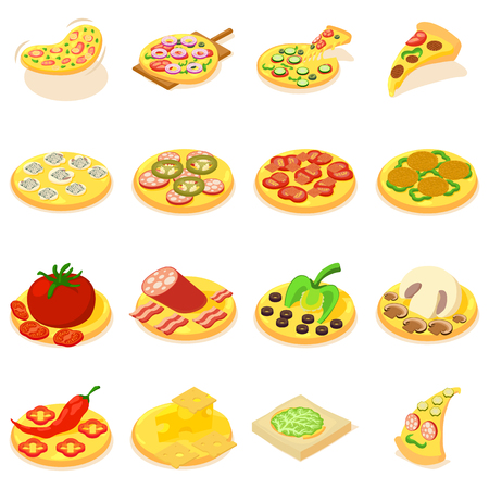 Pizza icons set. Isometric set of pizza vector icons for web isolated on white background